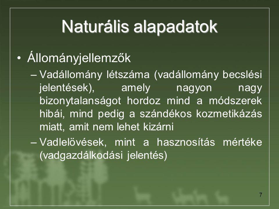 7 Naturális alapadatok Állományjellemzők –Vadállomány létszáma (vadállomány becslési jelentések), amely nagyon nagy bizonytalanságot hordoz mind a mód
