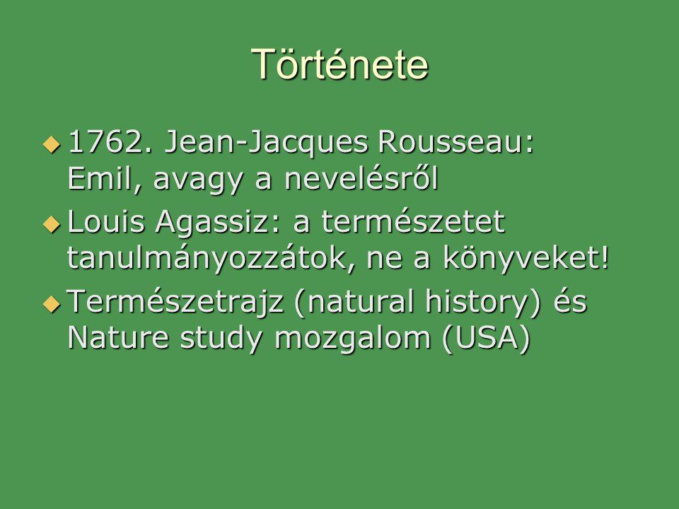 Története  1762. Jean-Jacques Rousseau: Emil, avagy a nevelésről  Louis Agassiz: a természetet tanulmányozzátok, ne a könyveket!  Természetrajz (na