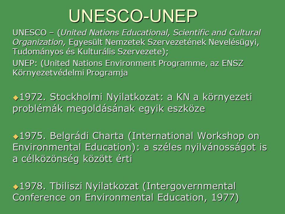 UNESCO-UNEP UNESCO – (United Nations Educational, Scientific and Cultural Organization, Egyesült Nemzetek Szervezetének Nevelésügyi, Tudományos és Kul
