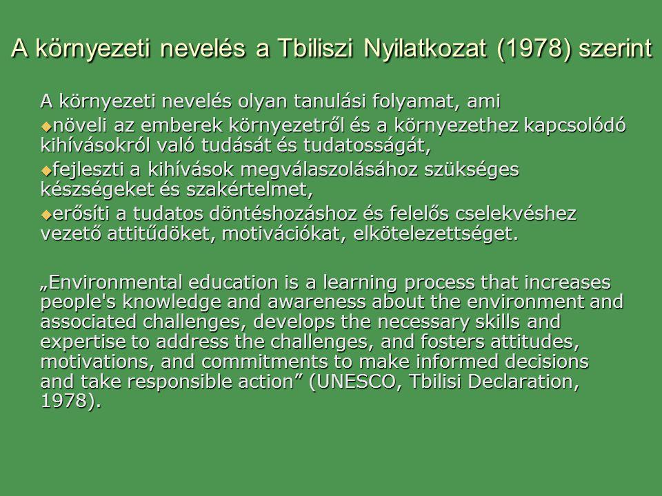A környezeti nevelés a Tbiliszi Nyilatkozat (1978) szerint A környezeti nevelés olyan tanulási folyamat, ami  növeli az emberek környezetről és a kör