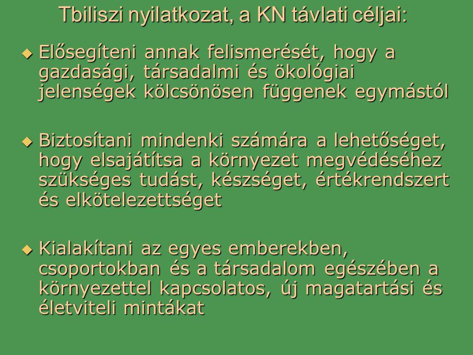 Tbiliszi nyilatkozat, a KN távlati céljai:  Elősegíteni annak felismerését, hogy a gazdasági, társadalmi és ökológiai jelenségek kölcsönösen függenek