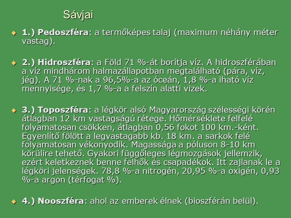 Sávjai  1.) Pedoszféra: a termőképes talaj (maximum néhány méter vastag).  2.) Hidroszféra: a Föld 71 %-át borítja víz. A hidroszférában a víz mindh