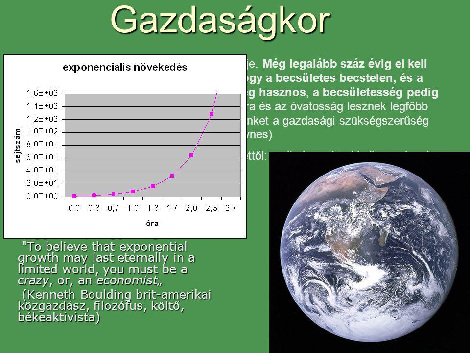 """Gazdaságkor """"Aki azt hiszi, hogy véges rendszerben az exponenciális növekedés örökké tarthat, az vagy őrült, vagy közgazdász"""""""