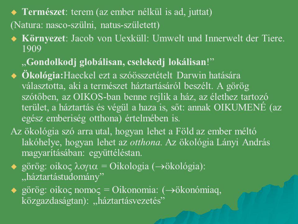   Természet: terem (az ember nélkül is ad, juttat) (Natura: nasco-szülni, natus-született)   Környezet: Jacob von Uexküll: Umwelt und Innerwelt de