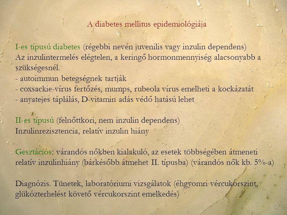 A diabetes mellitus epidemiológiája I-es típusú diabetes (régebbi nevén juvenilis vagy inzulin dependens) Az inzulintermelés elégtelen, a keringő horm