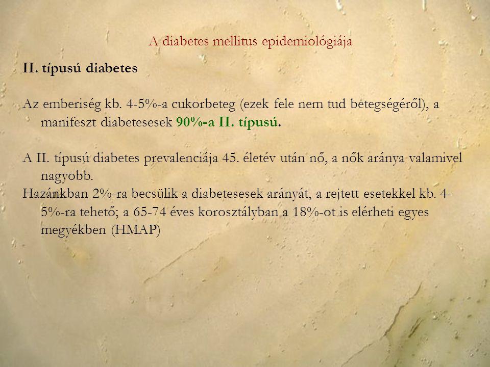 A diabetes mellitus epidemiológiája II. típusú diabetes Az emberiség kb. 4-5%-a cukorbeteg (ezek fele nem tud betegségéről), a manifeszt diabetesesek