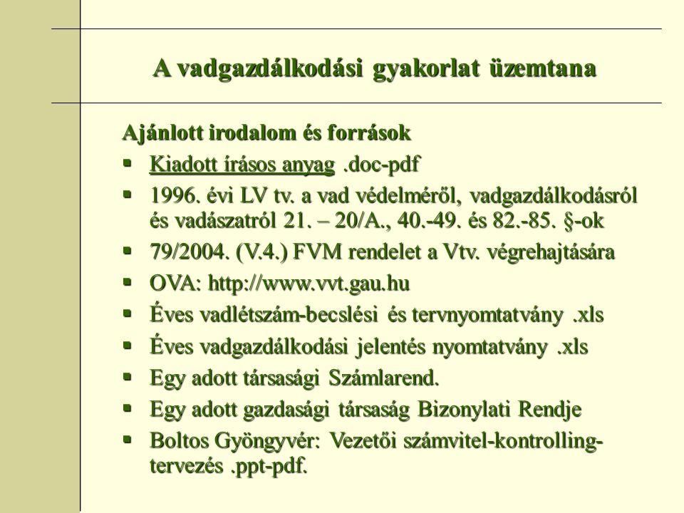 A vadgazdálkodási gyakorlat üzemtana Ajánlott irodalom és források  Kiadott írásos anyag.doc-pdf  1996.