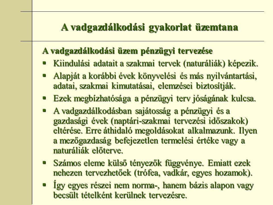 A vadgazdálkodási gyakorlat üzemtana Szakmai és pénzügyi nyilvántartások  Vadászati naplók (Vtv.