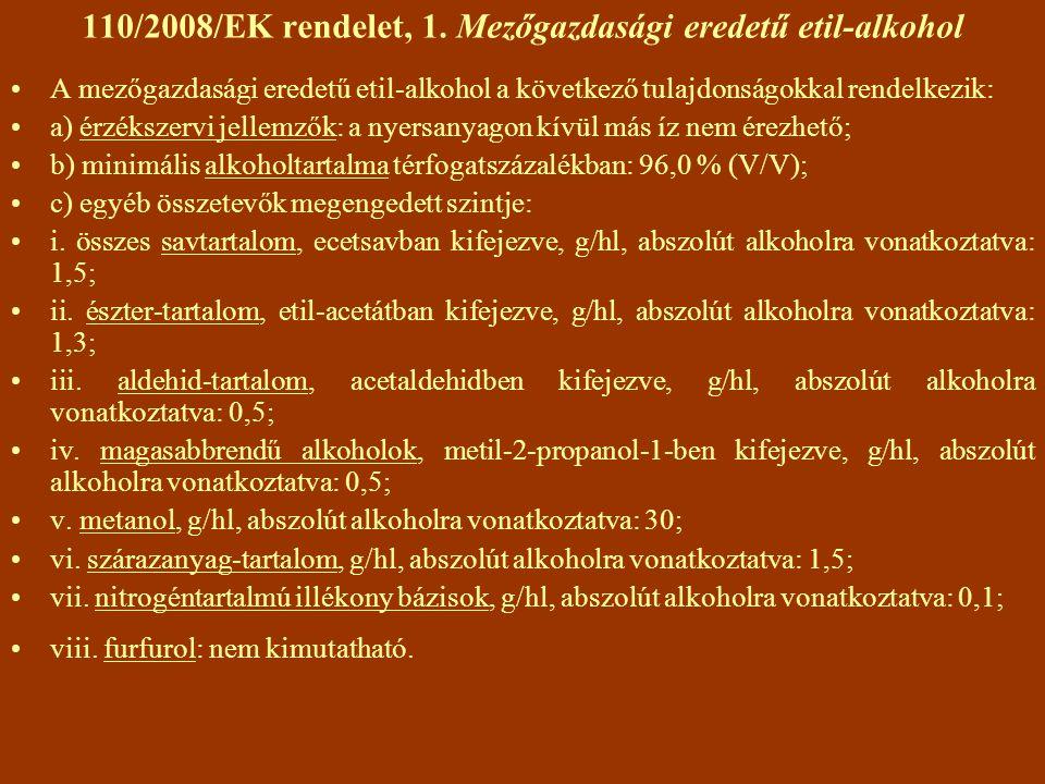 110/2008/EK rendelet, 1. Mezőgazdasági eredetű etil-alkohol A mezőgazdasági eredetű etil-alkohol a következő tulajdonságokkal rendelkezik: a) érzéksze