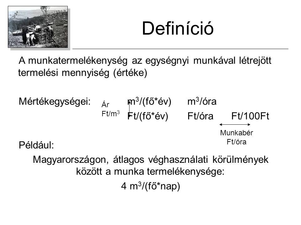 Definíció A munkatermelékenység az egységnyi munkával létrejött termelési mennyiség (értéke) Mértékegységei:m 3 /(fő*év)m 3 /óra Ft/(fő*év)Ft/óra Ft/1