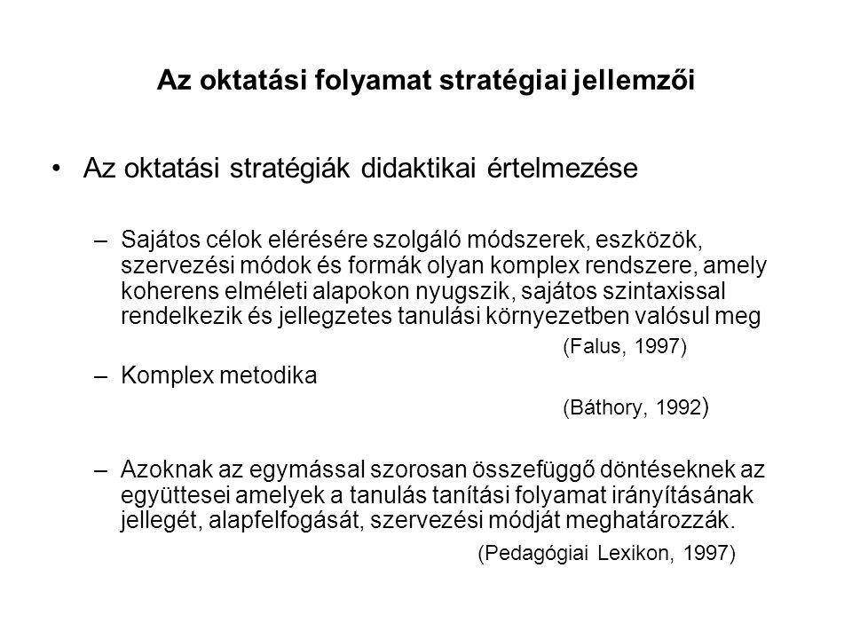 Az oktatási folyamat stratégiai jellemzői Az oktatási stratégiák didaktikai értelmezése –Sajátos célok elérésére szolgáló módszerek, eszközök, szervez