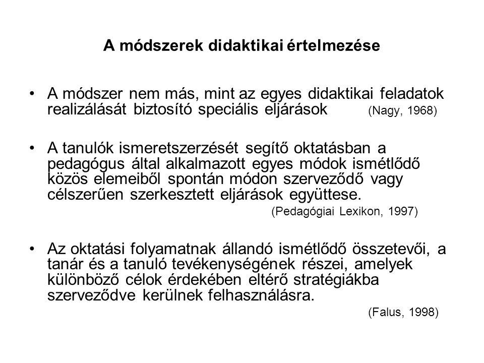 A módszerek didaktikai értelmezése A módszer nem más, mint az egyes didaktikai feladatok realizálását biztosító speciális eljárások (Nagy, 1968) A tan