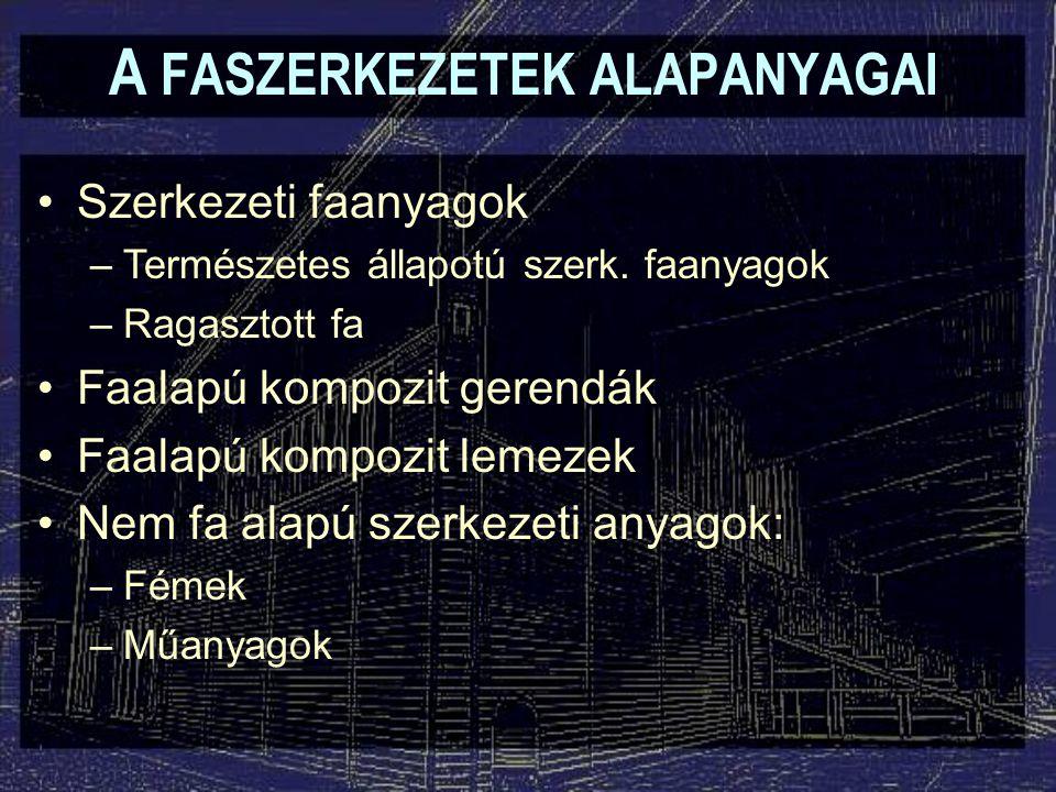 A FASZERKEZETEK ALAPANYAGAI Szerkezeti faanyagok –Természetes állapotú szerk. faanyagok –Ragasztott fa Faalapú kompozit gerendák Faalapú kompozit leme
