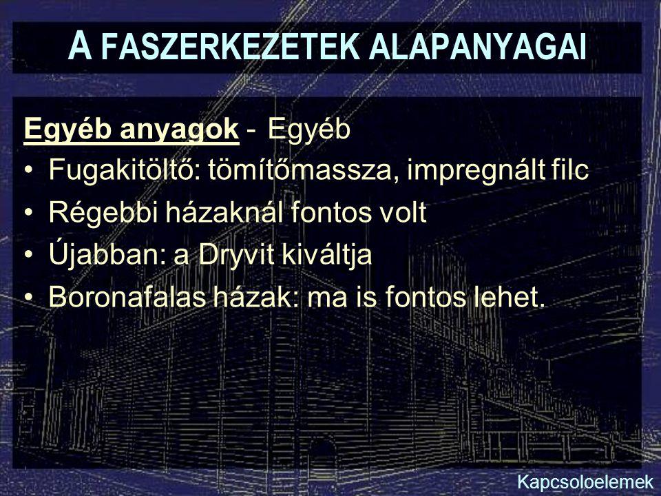 A FASZERKEZETEK ALAPANYAGAI Egyéb anyagok - Fugakitöltő: tömítőmassza, impregnált filc Régebbi házaknál fontos volt Újabban: a Dryvit kiváltja Boronaf