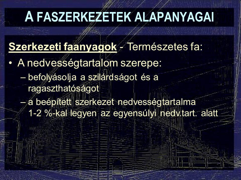 A FASZERKEZETEK ALAPANYAGAI Faalapú kompozit gerendák LVL LSL PSL (Hengeres LVL, scrimber)