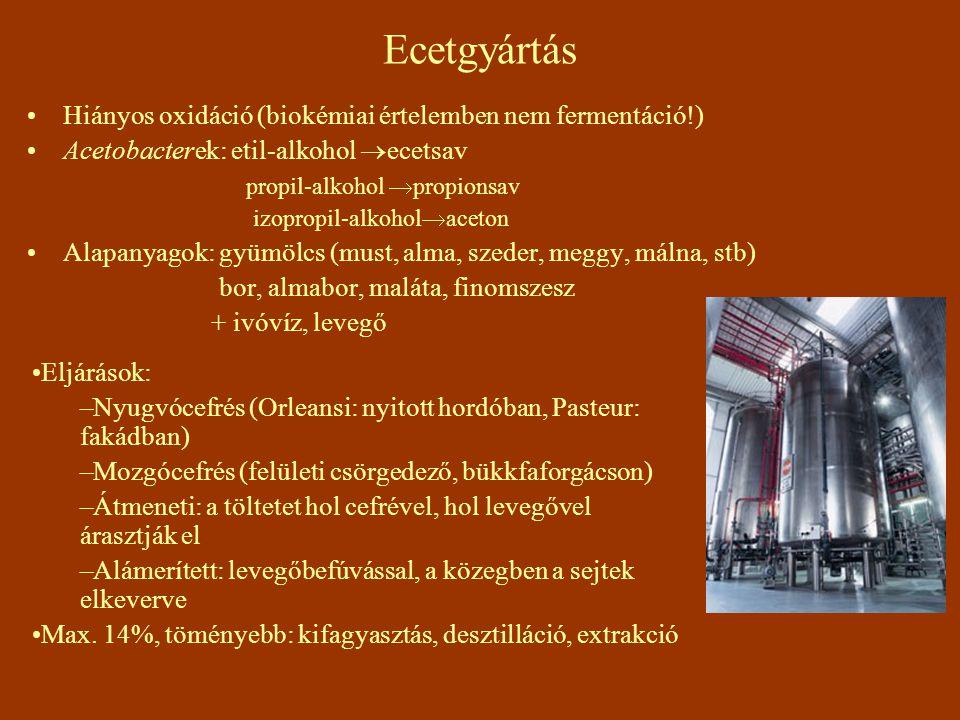 Ecetgyártás Hiányos oxidáció (biokémiai értelemben nem fermentáció!) Acetobacterek: etil-alkohol  ecetsav propil-alkohol  propionsav izopropil-alkohol  aceton Alapanyagok: gyümölcs (must, alma, szeder, meggy, málna, stb) bor, almabor, maláta, finomszesz + ivóvíz, levegő Eljárások: –Nyugvócefrés (Orleansi: nyitott hordóban, Pasteur: fakádban) –Mozgócefrés (felületi csörgedező, bükkfaforgácson) –Átmeneti: a töltetet hol cefrével, hol levegővel árasztják el –Alámerített: levegőbefúvással, a közegben a sejtek elkeverve Max.