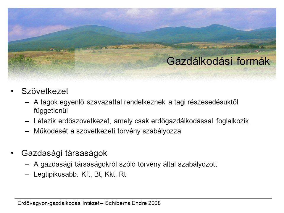 Erdővagyon-gazdálkodási Intézet – Schiberna Endre 2008 Gazdálkodási formák Szövetkezet –A tagok egyenlő szavazattal rendelkeznek a tagi részesedésüktő