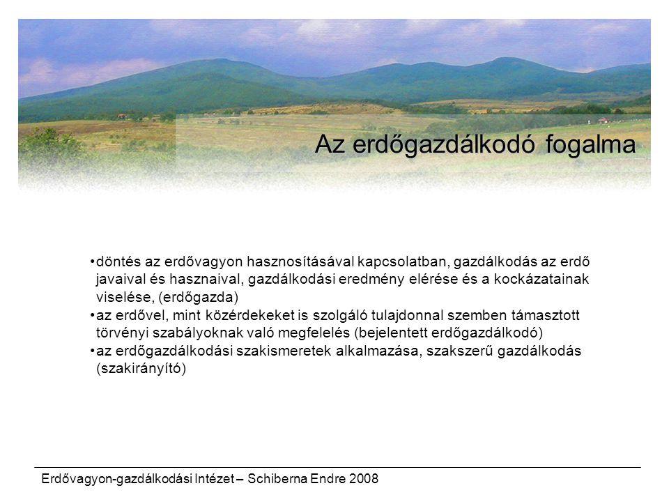 Erdővagyon-gazdálkodási Intézet – Schiberna Endre 2008 Az erdőgazdálkodó fogalma döntés az erdővagyon hasznosításával kapcsolatban, gazdálkodás az erd