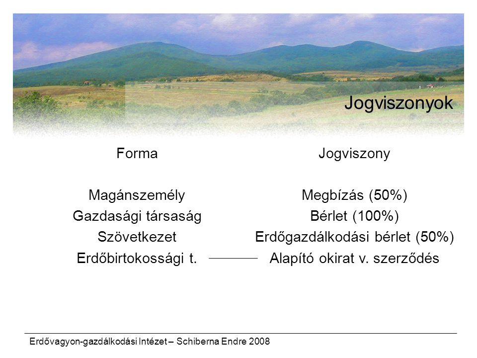 Erdővagyon-gazdálkodási Intézet – Schiberna Endre 2008 Jogviszonyok Forma Magánszemély Gazdasági társaság Szövetkezet Erdőbirtokossági t. Jogviszony M