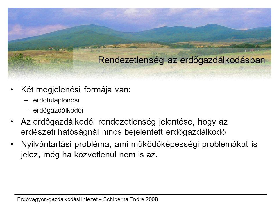 Erdővagyon-gazdálkodási Intézet – Schiberna Endre 2008 Rendezetlenség az erdőgazdálkodásban Két megjelenési formája van: –erdőtulajdonosi –erdőgazdálk