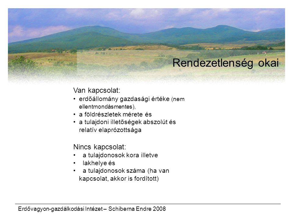 Erdővagyon-gazdálkodási Intézet – Schiberna Endre 2008 Rendezetlenség okai Van kapcsolat: erdőállomány gazdasági értéke (nem ellentmondásmentes), a fö
