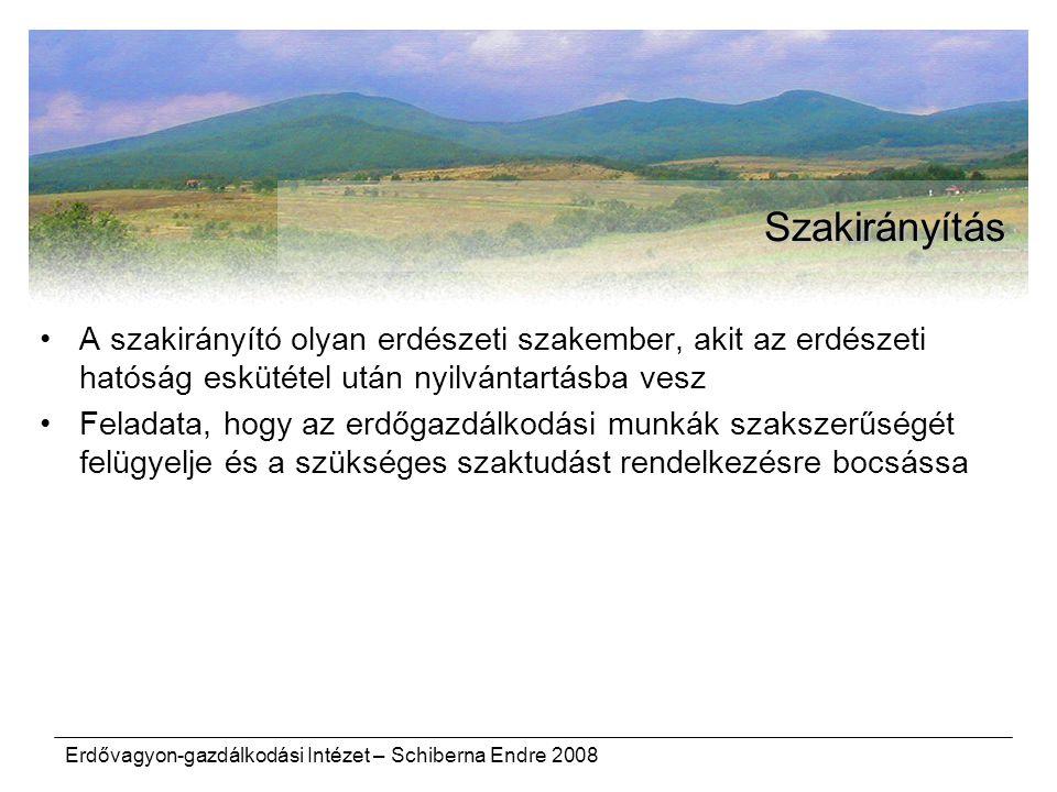 Erdővagyon-gazdálkodási Intézet – Schiberna Endre 2008 Szakirányítás A szakirányító olyan erdészeti szakember, akit az erdészeti hatóság eskütétel utá