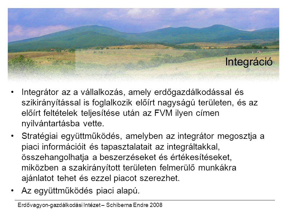Erdővagyon-gazdálkodási Intézet – Schiberna Endre 2008 Integráció Integrátor az a vállalkozás, amely erdőgazdálkodással és szikirányítással is foglalk