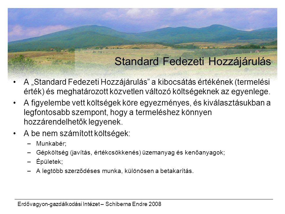 """Erdővagyon-gazdálkodási Intézet – Schiberna Endre 2008 Standard Fedezeti Hozzájárulás A """"Standard Fedezeti Hozzájárulás"""" a kibocsátás értékének (terme"""