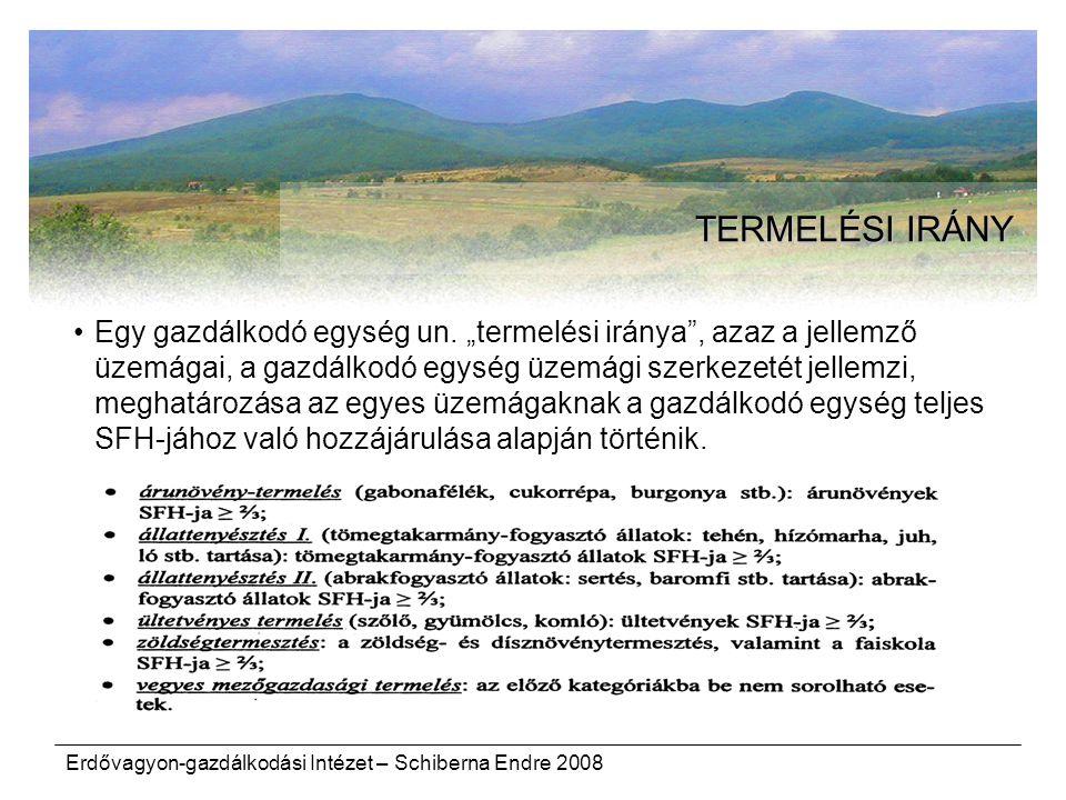 """Erdővagyon-gazdálkodási Intézet – Schiberna Endre 2008 TERMELÉSI IRÁNY Egy gazdálkodó egység un. """"termelési iránya"""", azaz a jellemző üzemágai, a gazdá"""
