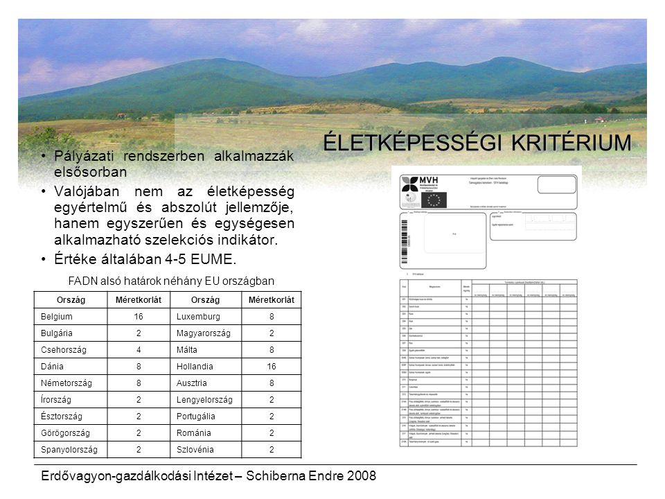 Erdővagyon-gazdálkodási Intézet – Schiberna Endre 2008 ÉLETKÉPESSÉGI KRITÉRIUM Pályázati rendszerben alkalmazzák elsősorban Valójában nem az életképes