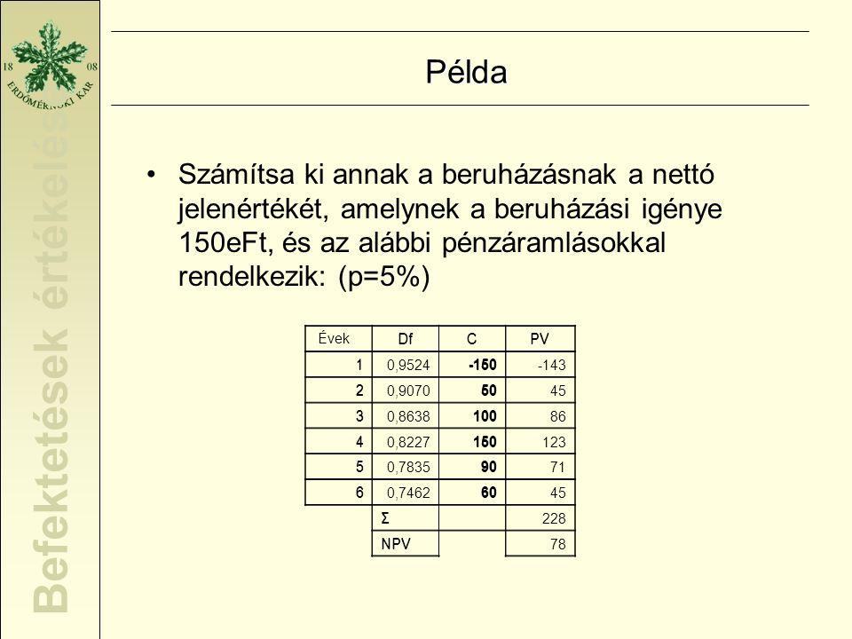 Befektetések értékelése Annuitás A nettó jelenérték annuált értéke p * (1+p) n A = NPV x ----------------- (1+p) n - 1