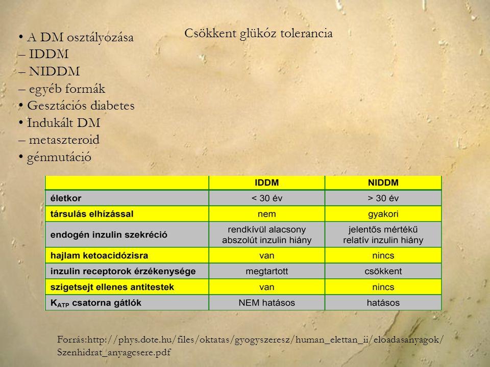 A DM osztályozása – IDDM – NIDDM – egyéb formák Gesztációs diabetes Indukált DM – metaszteroid génmutáció Forrás:http://phys.dote.hu/files/oktatas/gyo