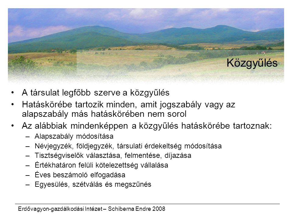 Erdővagyon-gazdálkodási Intézet – Schiberna Endre 2008 Közgyűlés A társulat legfőbb szerve a közgyűlés Hatáskörébe tartozik minden, amit jogszabály va