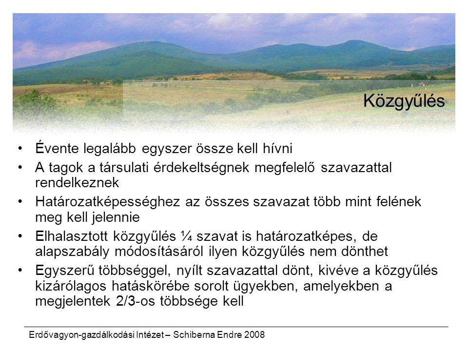 Erdővagyon-gazdálkodási Intézet – Schiberna Endre 2008 Közgyűlés Évente legalább egyszer össze kell hívni A tagok a társulati érdekeltségnek megfelelő