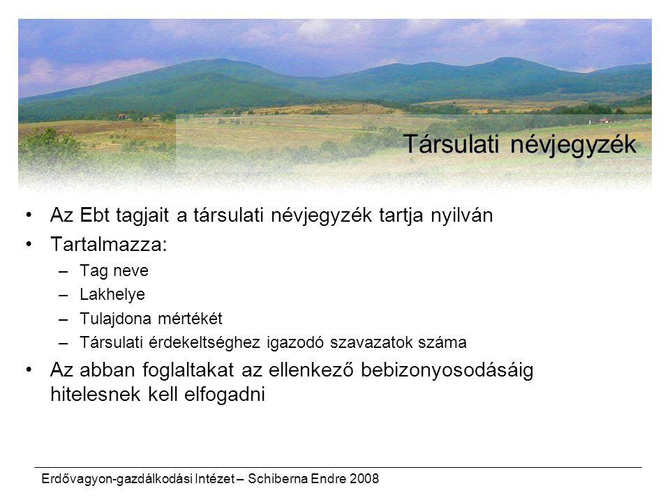 Erdővagyon-gazdálkodási Intézet – Schiberna Endre 2008 Társulati névjegyzék Az Ebt tagjait a társulati névjegyzék tartja nyilván Tartalmazza: –Tag nev