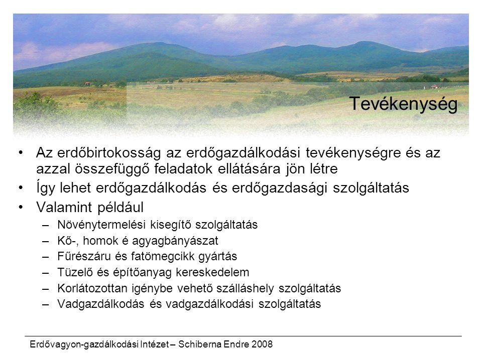 Erdővagyon-gazdálkodási Intézet – Schiberna Endre 2008 Tevékenység Az erdőbirtokosság az erdőgazdálkodási tevékenységre és az azzal összefüggő feladatok ellátására jön létre Így lehet erdőgazdálkodás és erdőgazdasági szolgáltatás Valamint például –Növénytermelési kisegítő szolgáltatás –Kő-, homok é agyagbányászat –Fűrészáru és fatömegcikk gyártás –Tüzelő és építőanyag kereskedelem –Korlátozottan igénybe vehető szálláshely szolgáltatás –Vadgazdálkodás és vadgazdálkodási szolgáltatás
