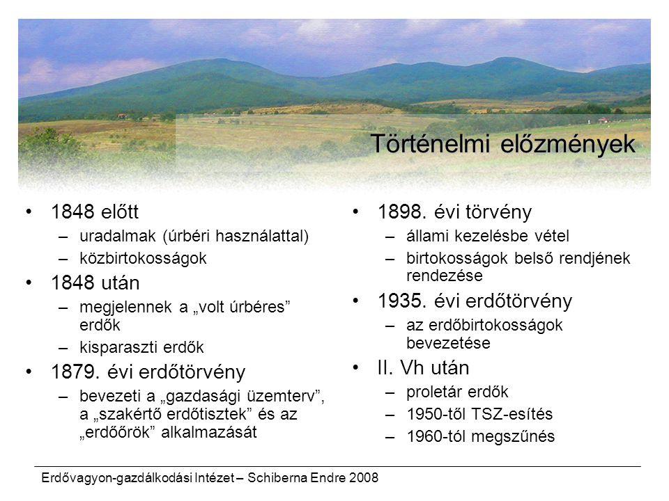 """Erdővagyon-gazdálkodási Intézet – Schiberna Endre 2008 Történelmi előzmények 1848 előtt –uradalmak (úrbéri használattal) –közbirtokosságok 1848 után –megjelennek a """"volt úrbéres erdők –kisparaszti erdők 1879."""