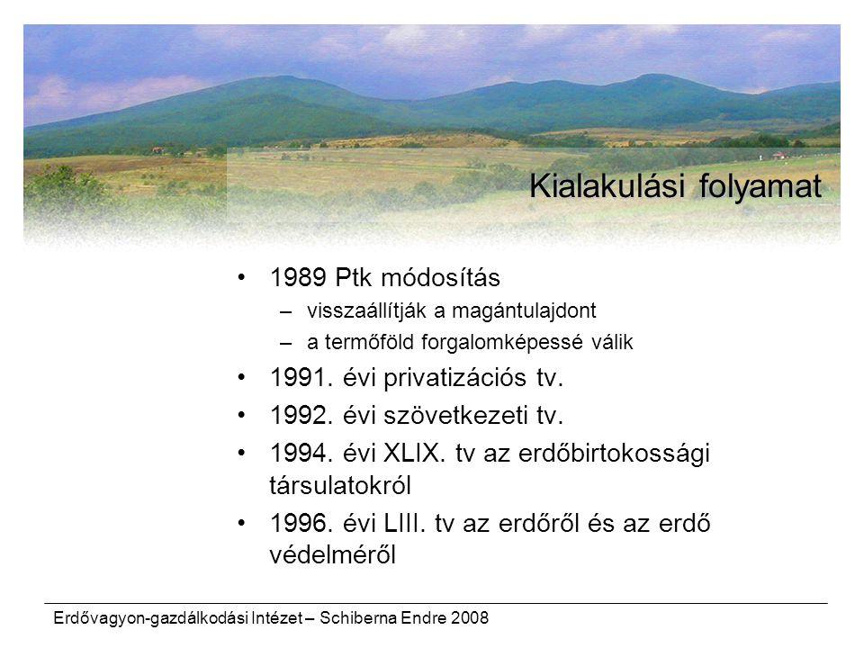 Erdővagyon-gazdálkodási Intézet – Schiberna Endre 2008 Kialakulási folyamat 1989 Ptk módosítás –visszaállítják a magántulajdont –a termőföld forgalomképessé válik 1991.