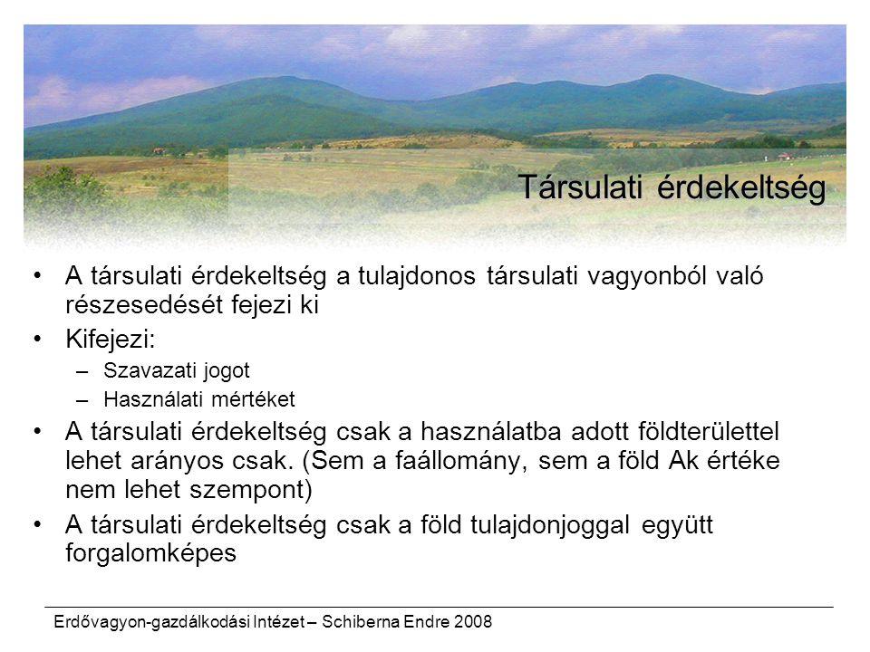 Erdővagyon-gazdálkodási Intézet – Schiberna Endre 2008 Társulati érdekeltség A társulati érdekeltség a tulajdonos társulati vagyonból való részesedésé