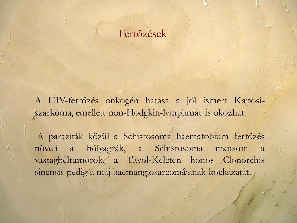 A HIV-fertőzés onkogén hatása a jól ismert Kaposi- szarkóma, emellett non-Hodgkin-lymphmát is okozhat.