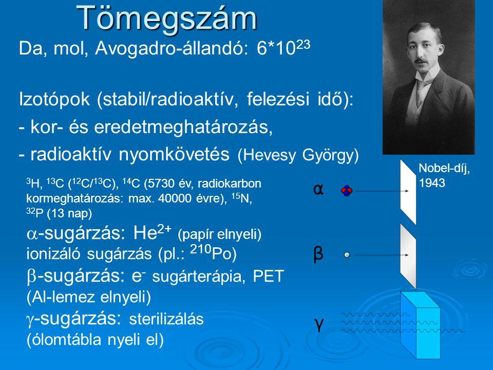Tömegszám Da, mol, Avogadro-állandó: 6*10 23 Izotópok (stabil/radioaktív, felezési idő): - kor- és eredetmeghatározás, - radioaktív nyomkövetés (Hevesy György) Nobel-díj, 1943 3 H, 13 C ( 12 C/ 13 C), 14 C (5730 év, radiokarbon kormeghatározás: max.
