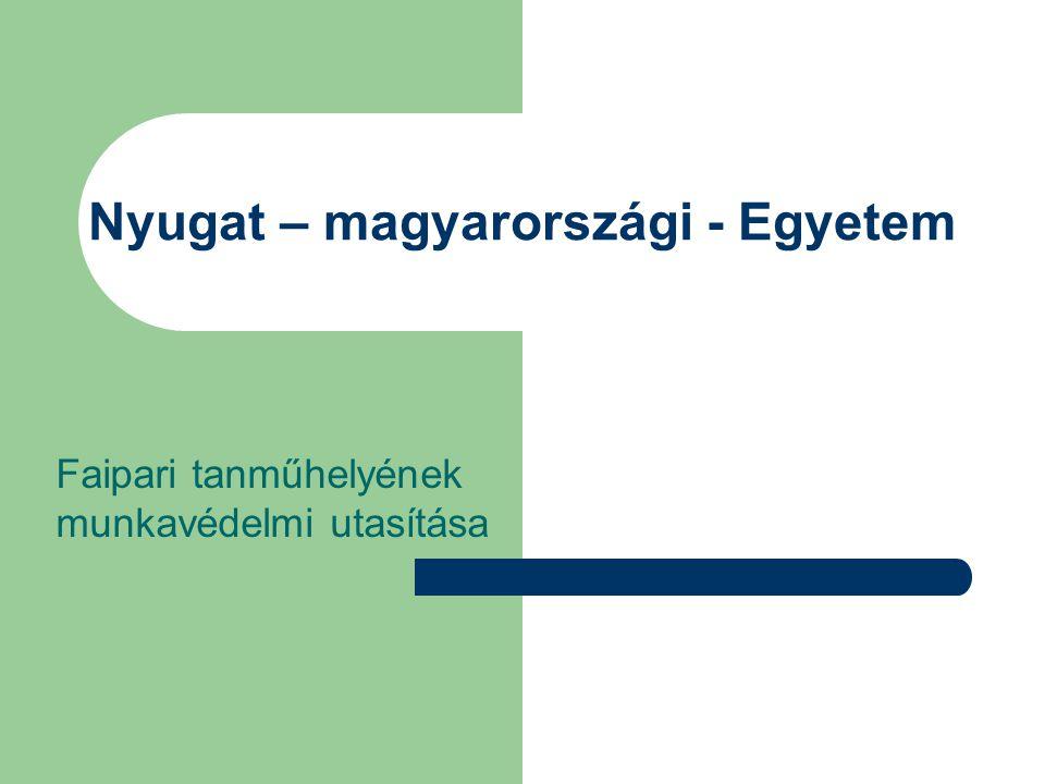 Nyugat – magyarországi - Egyetem Faipari tanműhelyének munkavédelmi utasítása