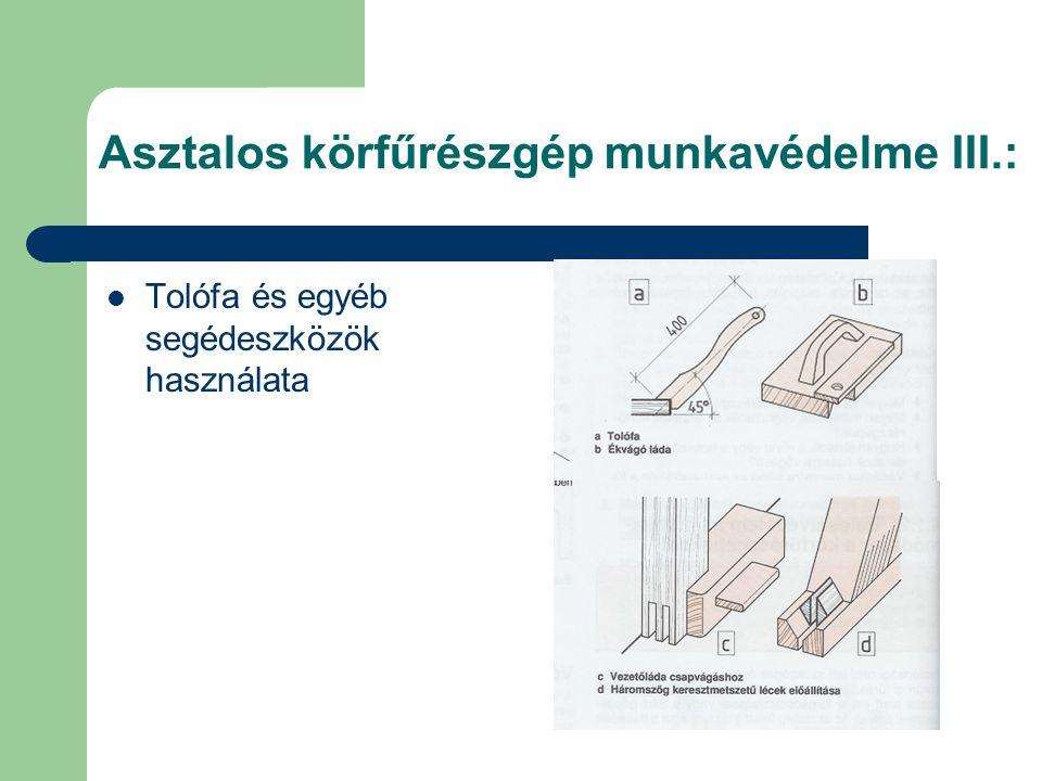 Asztalos körfűrészgép munkavédelme III.: Tolófa és egyéb segédeszközök használata