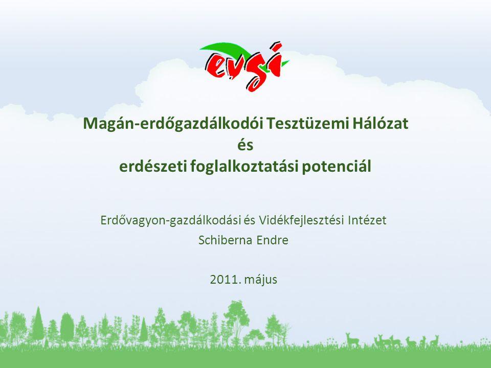Magán-erdőgazdálkodói Tesztüzemi Hálózat és erdészeti foglalkoztatási potenciál Erdővagyon-gazdálkodási és Vidékfejlesztési Intézet Schiberna Endre 2011.