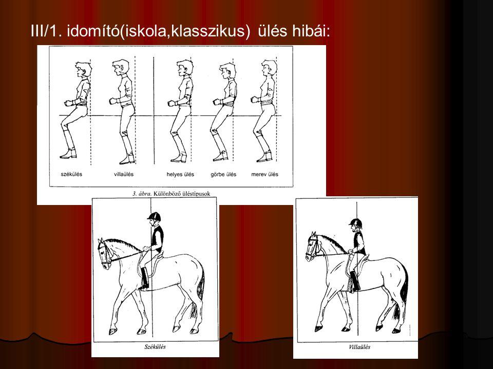 III/1. idomító(iskola,klasszikus) ülés hibái: