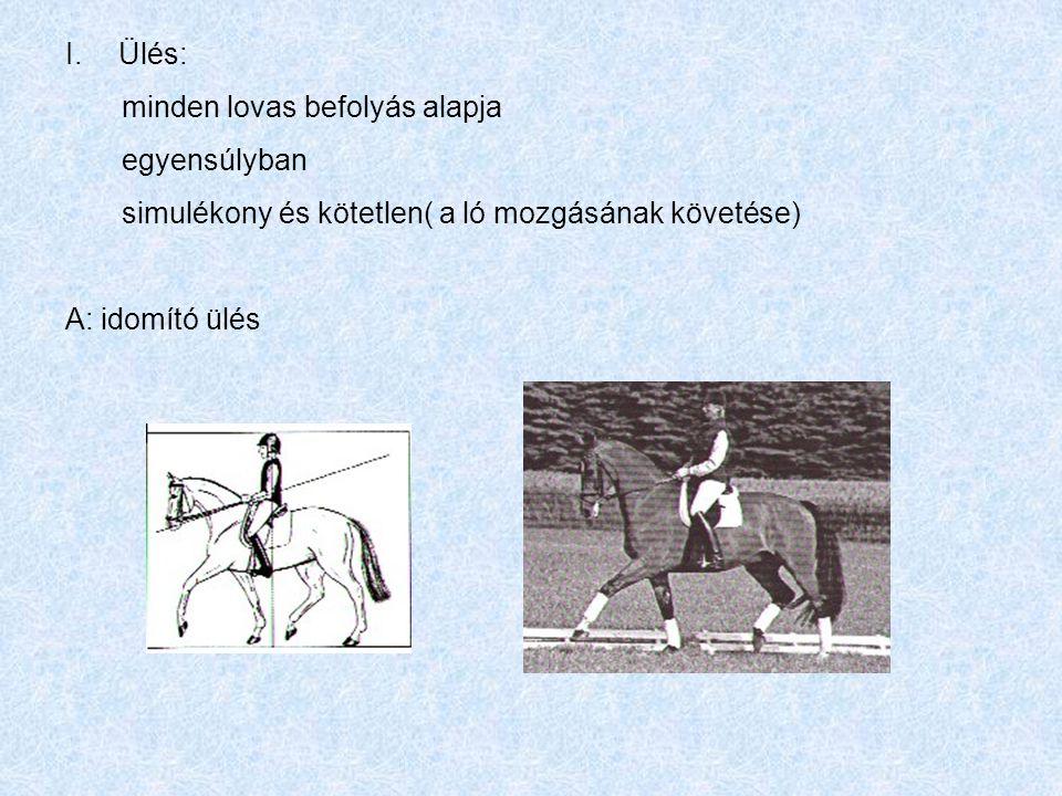 I.Ülés: minden lovas befolyás alapja egyensúlyban simulékony és kötetlen( a ló mozgásának követése) A: idomító ülés