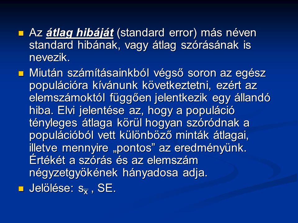Az átlag hibáját (standard error) más néven standard hibának, vagy átlag szórásának is nevezik. Az átlag hibáját (standard error) más néven standard h