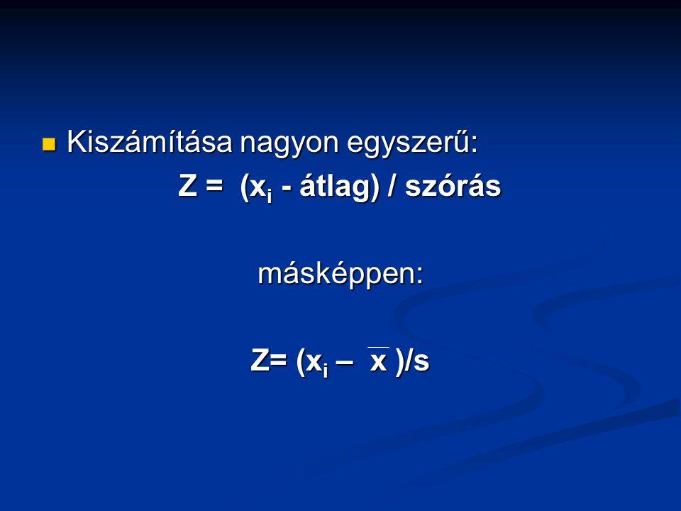 Kiszámítása nagyon egyszerű: Kiszámítása nagyon egyszerű: Z = (x i - átlag) / szórás másképpen: Z= (x i – x )/s