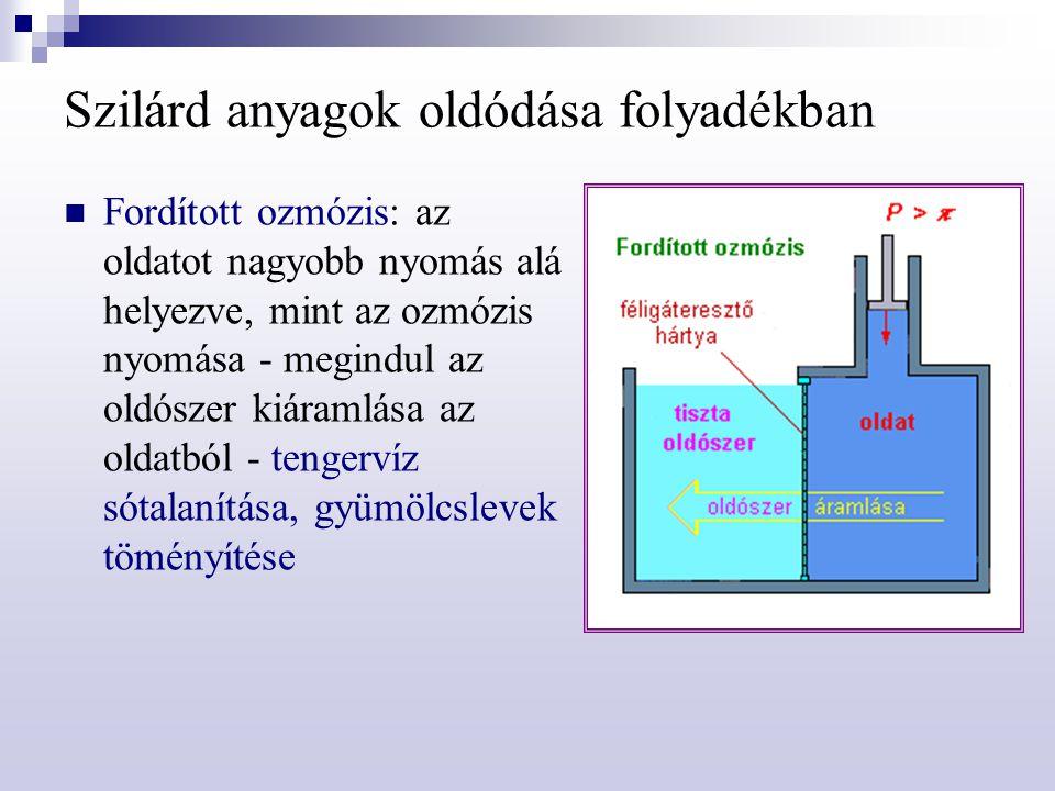 Szilárd anyagok oldódása folyadékban Fordított ozmózis: az oldatot nagyobb nyomás alá helyezve, mint az ozmózis nyomása - megindul az oldószer kiáraml