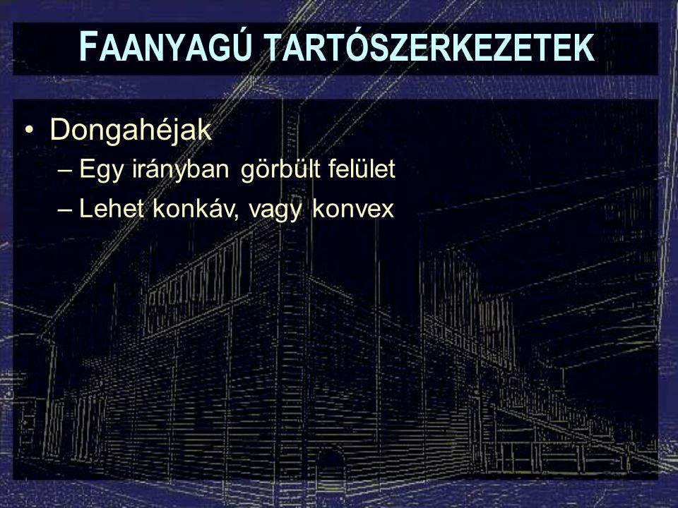 F AANYAGÚ TARTÓSZERKEZETEK Dongahéjak –Egy irányban görbült felület –Lehet konkáv, vagy konvex